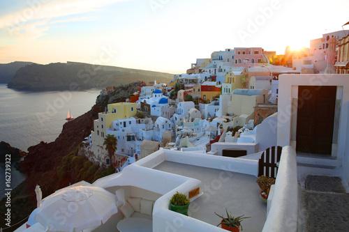 Historic village Oia on Santorini Island, Cyclades Islands, Greece