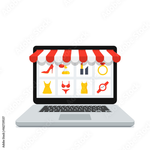 Online shopping concept with realistic laptop and online shop