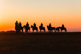 Horses Riders Silhouetted Dawn - 162742198