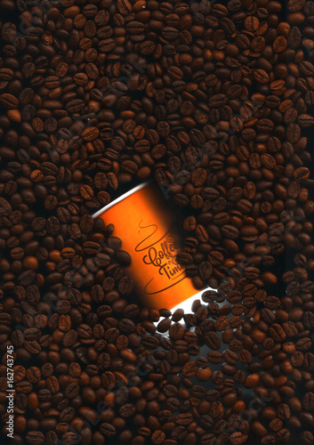 Empty paper cup of coffee and grains