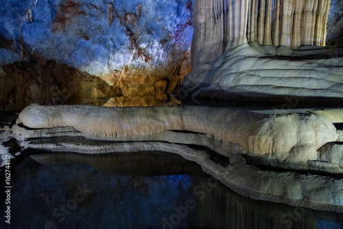 Underground lake in Paradise cave in Vietnam Poster