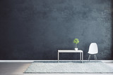 Black interior with empty wall