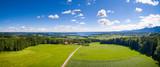 Aerial panorama: Lake Chiemsee, Bavaria in summer