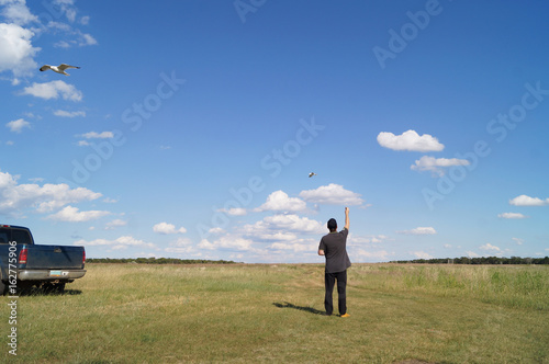 Colorful photo of man feeding with bread the seagull birds in empty field  near the car, landscape photo © Iryna