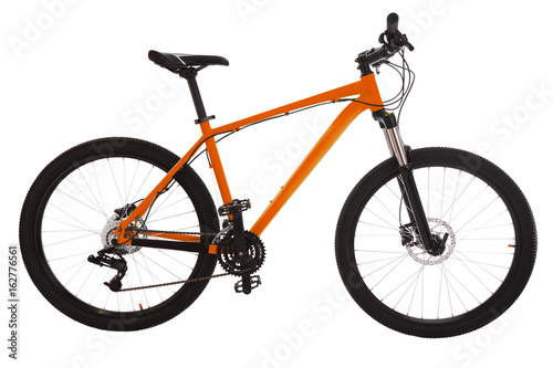 Orange mountain bike isolated on white background