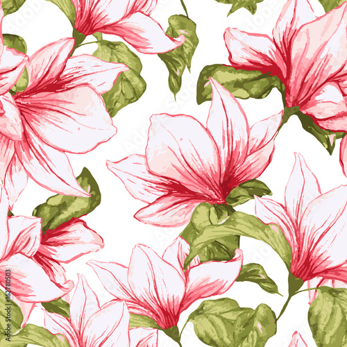 Fototapeta Seamless pattern with magnolia flowers on the white background. Fresh summer tropical blossoming pink flowers for fabric textile design. Vector illustration