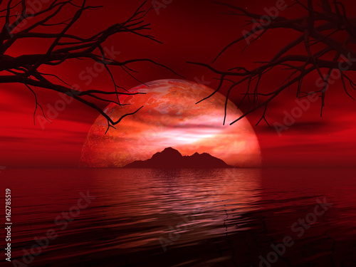 3D landscape with fictional planet and island in sea