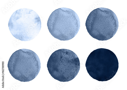 Watercolor circles collection gray colors. Stains set isolated on white background. Design elements - 162788980