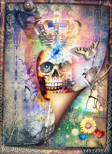 Tuinposter Imagination Gothic and macabre skull with crown - fear and bewitched scenery series