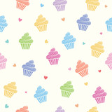 Cupcakes colorful pastel seamless pattern background.