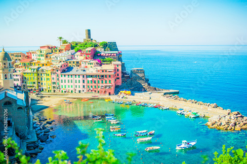 Beautiful Vernazza in Cinque Terre. One of five famous colorful villages of Cinque Terre National Park in Italy