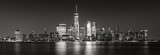 Black and White panoramic view of New York City Financial District skyscrapers. Panoramic view of Lower Manhattan - 162804154