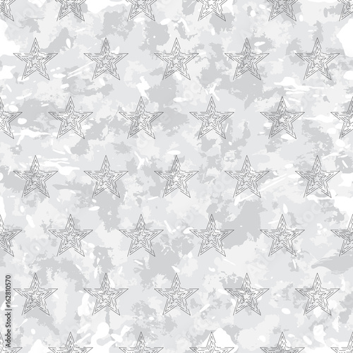 vector seamless grunge military pattern with stars - 162810570