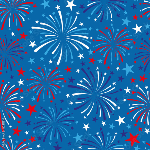 vector 4th of July seamless pattern with fireworks - 162811314