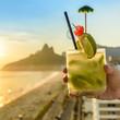 Quadro Kiwi caipirinha cocktail overlooking Rio de Janeiro, Brazil