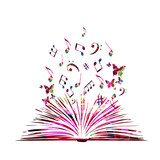 Colorful open book with music notes isolated vector illustration
