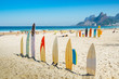 Quadro Surf boards lined up in Rio de Janeiro, Brazil