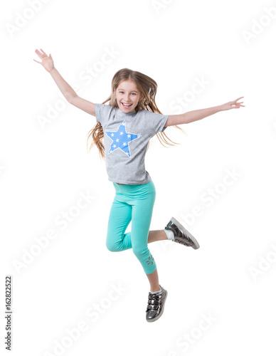 girl in green leggings, dancing, isolated Poster