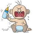 Illustration of sitting baby, very angry with baby bottle - 162824121