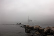 Waiting for the fog to lift in Casco Bay Portland, Maine