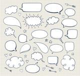 Set of hand drawn comic speech bubbles. Vector doodle blank design elements.