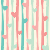 Pastel stripes and hearts. Seamless vector pattern.