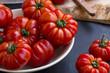 Fresh bio tomatoes harvesting, organic vegetables freshly picked from garden - 162833309