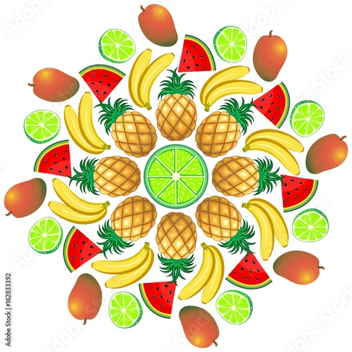 Foto op Canvas Draw Mandala Summer Fruit and Juice 2