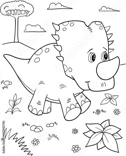 Aluminium Cartoon draw Cute Triceratops Dinosaur Vector Illustration Art