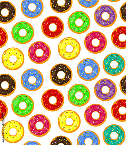 Fototapeta Seamless background of donuts with pastry pads