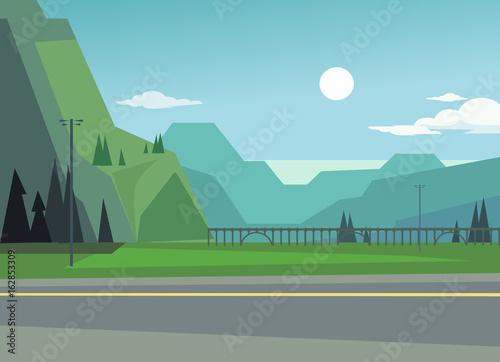 Fotobehang Boerderij Green landscape with hills and trees. Asphalt among nature. Vector flat cartoon illustration