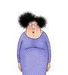 Funny Cartoon Lady With an Expression of Angry Frustration