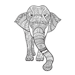 Elaphant Zentangle Animal For Coloring Book Vector Illustration