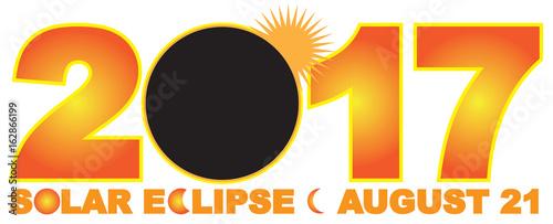2017 Solar Eclipse Numeral Text vector Illustration