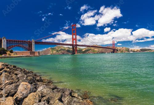 Panoramic shot of Golden Gate Bridge in San Francisco, California