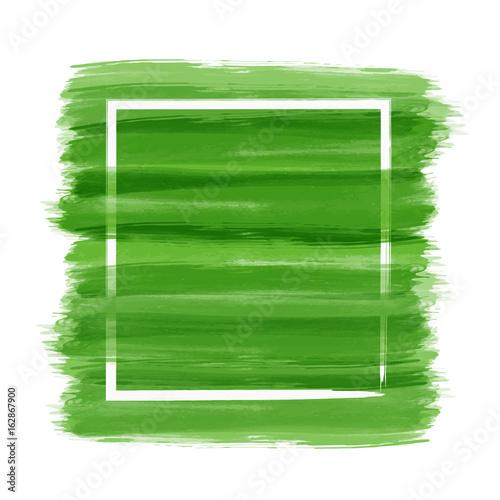 Green brush paint background with white brush frame - 162867900