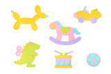Toys paper cut on white background - isolated  (handmade paper cut, not illustration)