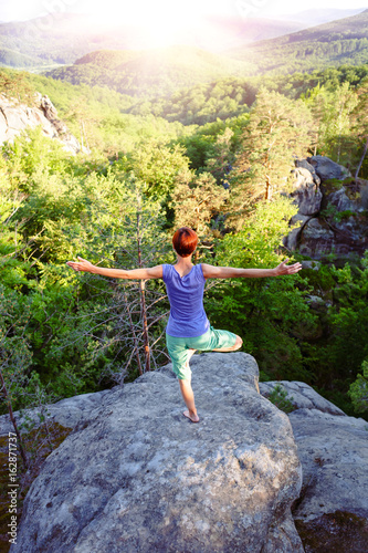 Foto op Plexiglas Zwavel geel yoga on fresh air.