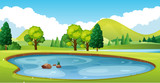 Scene with pond in the field - 162872723