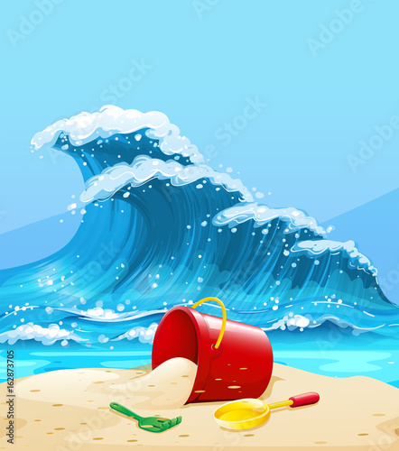 Scene with big wave and beach