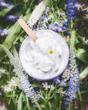 Herbal cosmetic cream with herbs and flowers , top view. Skincare product , wellness in jar. Natural cosmetic product and beauty concept - 162876356