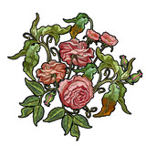 Embroidery wild rose isolated on white. Classical embroidery blossoming rose buds on white background, template fashionable clothes, t-shirt design, beautiful flowers vector - 162878344