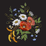 Poppies and chamomiles bouquet embroidery vector. Beautiful chamomiles, wheat cones and poppies. Classic embroidery for clothes template - 162878364