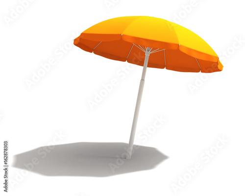 Orange beach umbrella with clipping path