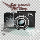 Hipster fashion background with hand drawn camera. Collect moments not things - 162884947