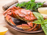Cooked crab with lemon and herbs. - 162886307