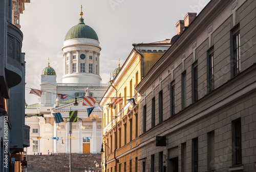 Glimpse of the lutheran cathedral of Helsinki