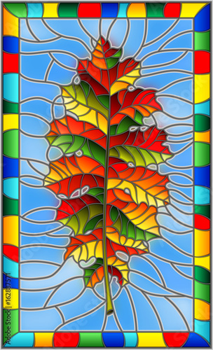 illustration-in-stained-glass-style-with-a-autumn-leaf-on-a-blue-background-in-a-bright-frame