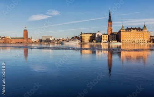 View over Stockholm City-hall and Riddarholmen island.