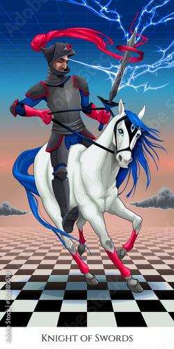Staande foto Kinderkamer Knight of swords, tarot card